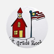 1st Grade Rocks Round Ornament