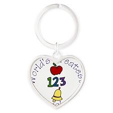 Worlds Greatest Teacher Heart Keychain
