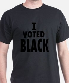 Obama Wins I Voted Black T-Shirt
