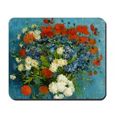 Vase with Cornflowers and Poppies Mousepad