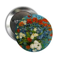 """Vase with Cornflowers and Poppies 2.25"""" Button"""