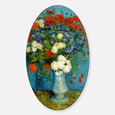 Van Gogh Vase with Cornflowers and  Sticker (Oval)