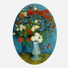 Van Gogh Vase with Cornflowers and P Oval Ornament
