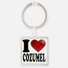 I Heart Cozumel Square Keychain