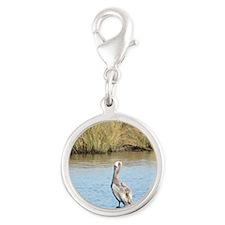 Sitting Pelican Bird Silver Round Charm