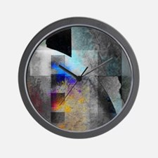 Industrial Grunge with Gray and Blue Wall Clock