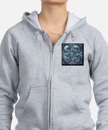 Silver and Blue Celtic Tapestry Zip Hoodie