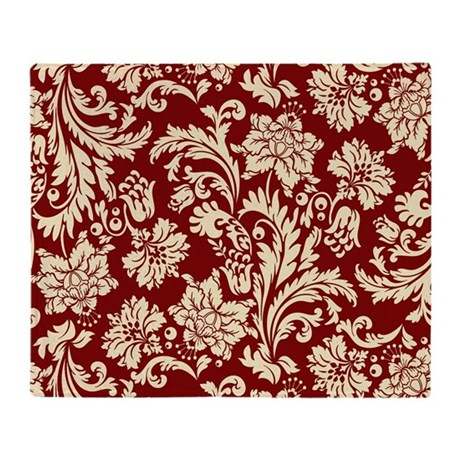 Cream and Scarlet Red Damask Throw Blanket