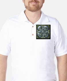 Silver and Green Celtic Tapestry Golf Shirt
