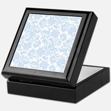 Sky Blue and White Damask Keepsake Box