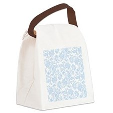 Sky Blue and White Damask Canvas Lunch Bag