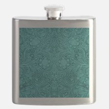 Leather Look Floral Turquoise Flask