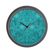 Leather Look Floral Turquoise Wall Clock