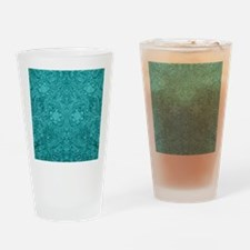 Leather Look Floral Turquoise Drinking Glass