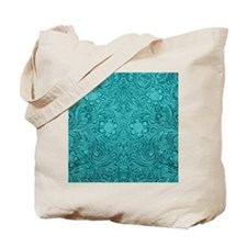 Leather Look Floral Turquoise Tote Bag