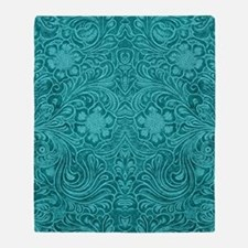 Leather Look Floral Turquoise Throw Blanket