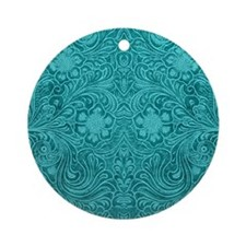 Leather Look Floral Turquoise Round Ornament