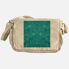 Leather Look Floral Turquoise Messenger Bag