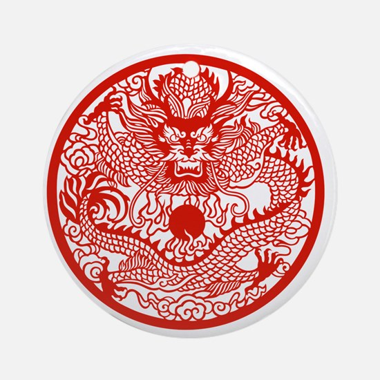 Asian Dragon Round Ornament