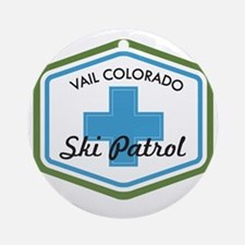 Vail Ski Patrol Badge Round Ornament