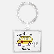 I Brake For Children Landscape Keychain
