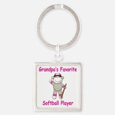 Grandpas Softball Monkey Square Keychain