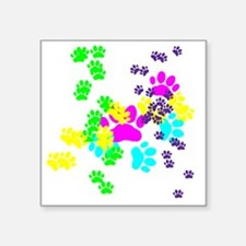 "Pawprints Square Sticker 3"" x 3"""