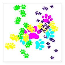"Pawprints Square Car Magnet 3"" x 3"""