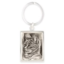 Cat Drawing One Framed Print Portrait Keychain