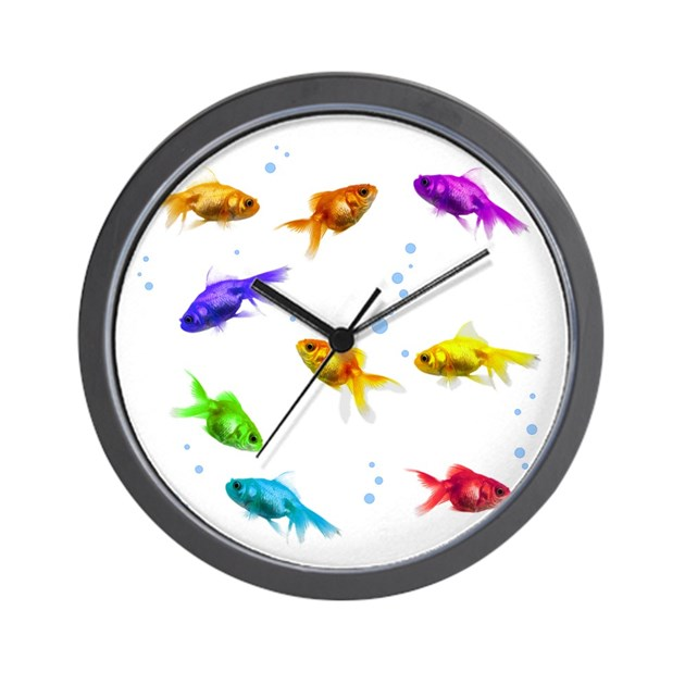 Rainbow fish wall clock by babylaughs for Fish wall clock