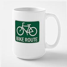 Bike Route Road Sign Large Mug