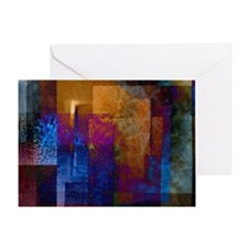 Blue Pink and Orange Industrial Grun Greeting Card