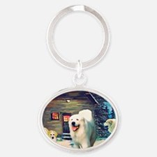 Great Pyrenees Winter Cottage Oval Keychain