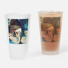 Great Pyrenees Winter Cottage Drinking Glass