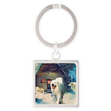 Great Pyrenees Winter Cottage Square Keychain