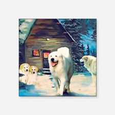 "Great Pyrenees Winter Cotta Square Sticker 3"" x 3"""