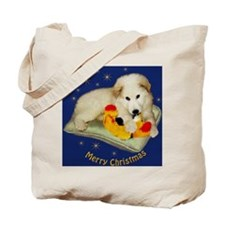 Great Pyrenees Merry Christmas, blue orna Tote Bag