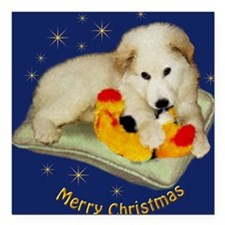 "Great Pyrenees Merry Chr Square Car Magnet 3"" x 3"""
