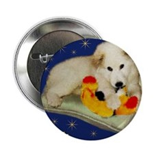 "Great Pyrenees Merry Christmas, blue  2.25"" Button"