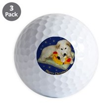 Great Pyrenees Merry Christmas, blue or Golf Ball