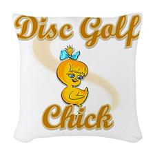 Disc Golf Chick #2 Woven Throw Pillow