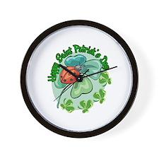 Lucky Ladybug St. Patick's Day Wall Clock