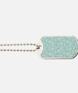 Turquoise and Cream Damask Dog Tags