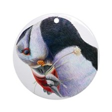 Puffin with Fish Bird Art Round Ornament