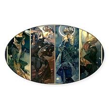 Alphonse Muchas Star, Night, Moon,  Decal