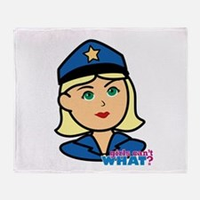 Woman Police Officer Head Throw Blanket