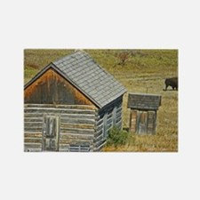 Cabin and Buffalo Rectangle Magnet