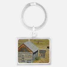 Cabin and Buffalo Landscape Keychain