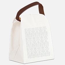 White  Light Gray Floral Damasks Canvas Lunch Bag