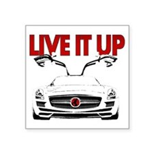 "SLS AMG Supercar LIVE IT UP Square Sticker 3"" x 3"""